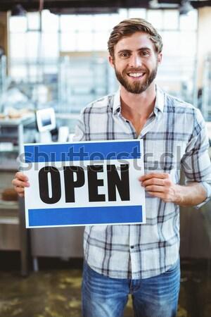 Foto stock: Servicio · propietario · sonriendo · cámara · negocios · signo