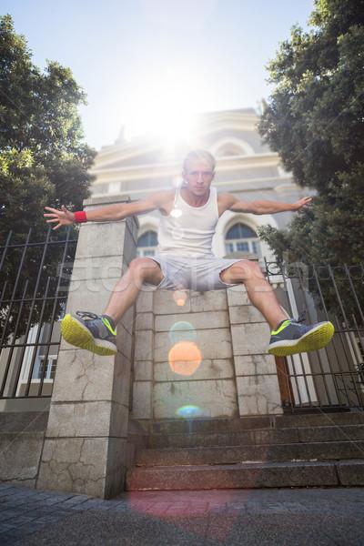 Extrém atléta ugrik levegő épület város Stock fotó © wavebreak_media