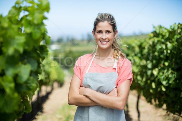 Portre kadın çiftçi bağ gülen Stok fotoğraf © wavebreak_media