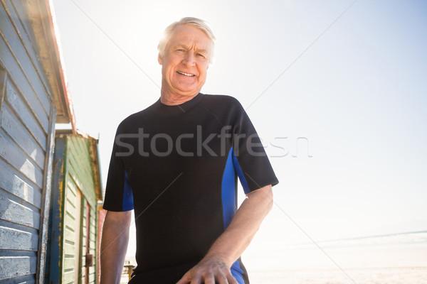 Portré mosolyog idős férfi áll tengerpart Stock fotó © wavebreak_media