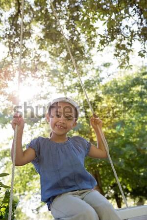 少女 ポインティング デジタル タブレット 森林 ストックフォト © wavebreak_media
