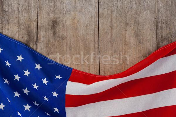 Amerykańską flagę drewniany stół tle banderą wolności Zdjęcia stock © wavebreak_media