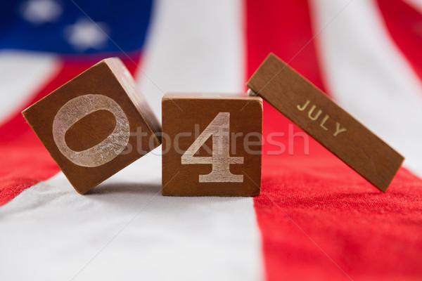 Randevú kockák amerikai zászló negyedike közelkép háttér Stock fotó © wavebreak_media