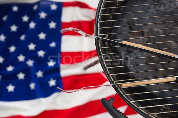 Barbeque amerikai zászló közelkép háttér asztal zászló Stock fotó © wavebreak_media