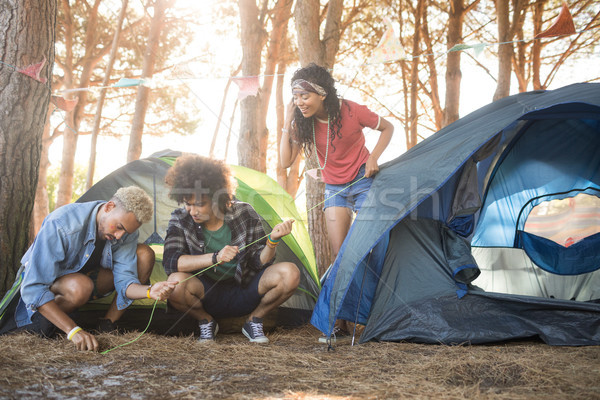 Young friends setting up tent at forest Stock photo © wavebreak_media