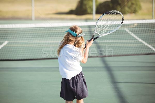 Foto stock: Menina · jogar · tênis · criança