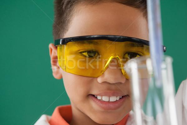 школьник зеленый внимательный ребенка связи Kid Сток-фото © wavebreak_media