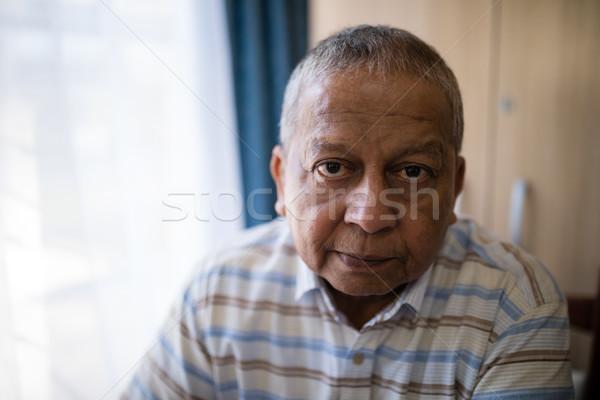 Portre ciddi kıdemli adam pencere huzurevi Stok fotoğraf © wavebreak_media