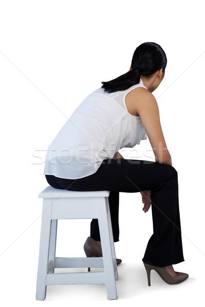 Teljes alakos nő ül zsámoly fehér fa Stock fotó © wavebreak_media