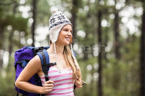 Fiatal boldog természetjáró néz távolság természet Stock fotó © wavebreak_media