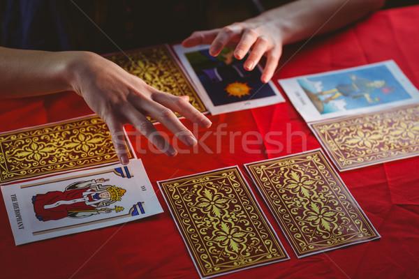 Таро карт красный таблице женщину Сток-фото © wavebreak_media