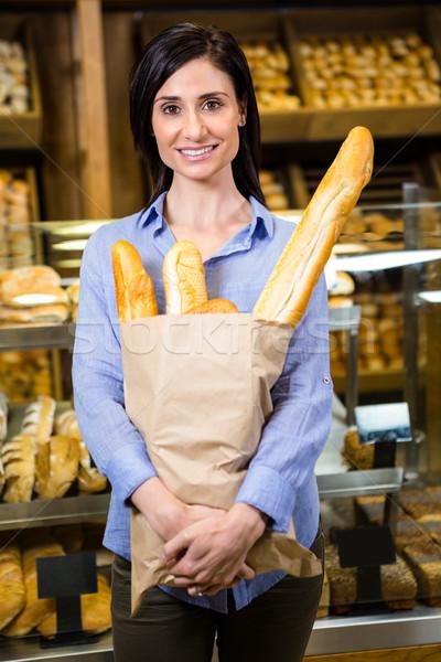 Vrouw brood creditcard supermarkt business Stockfoto © wavebreak_media