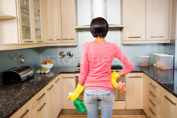 вид сзади Постоянный брюнетка готовый чистой кухне Сток-фото © wavebreak_media