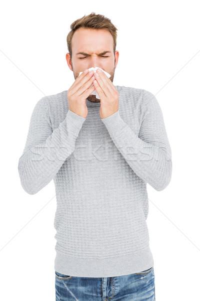 Joven nariz blanco hombre camiseta Foto stock © wavebreak_media