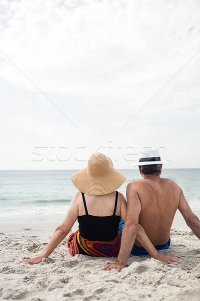 Hátsó nézet idős pár ül tengerpart napos idő nő Stock fotó © wavebreak_media