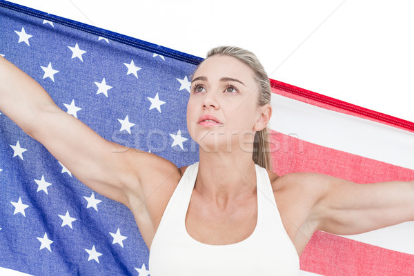 Kadın atlet amerikan bayrağı beyaz kadın Stok fotoğraf © wavebreak_media