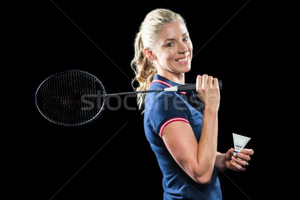 Badminton speler racket vrouw sport Stockfoto © wavebreak_media