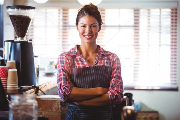 Garson ayakta restoran kadın mutlu Stok fotoğraf © wavebreak_media