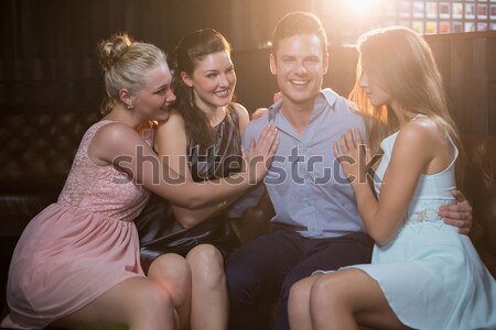 Három női barátok tart lövés üveg Stock fotó © wavebreak_media