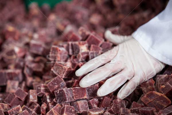 Pile of meat cube at meat factory Stock photo © wavebreak_media