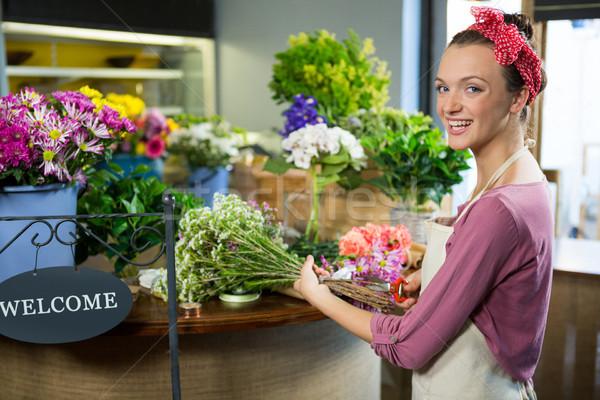 женщины флорист букет портрет женщину Сток-фото © wavebreak_media