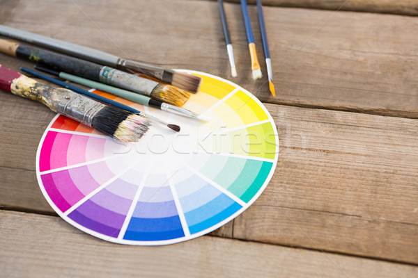 Color swatch and paintbrushes on wooden surface Stock photo © wavebreak_media