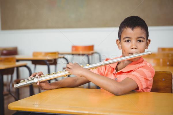 学生 フルート クラス 幸せ 肖像 少年 ストックフォト © wavebreak_media