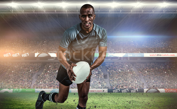 Composite image of portrait of determined sportsman running with Stock photo © wavebreak_media