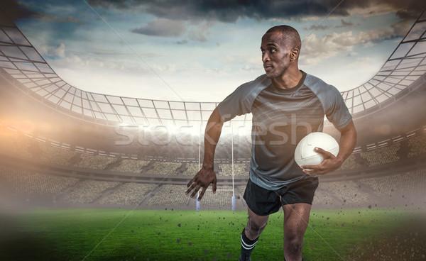 изображение спортсмен работает мяч для регби Сток-фото © wavebreak_media