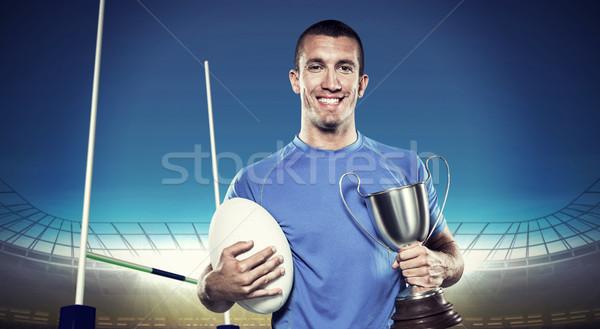 összetett kép portré mosolyog rögbi játékos Stock fotó © wavebreak_media