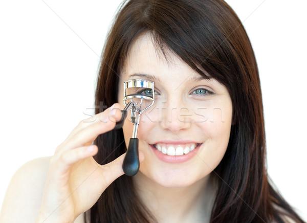 Encantador muchacha adolescente de pestañas mujer sonrisa ojo Foto stock © wavebreak_media
