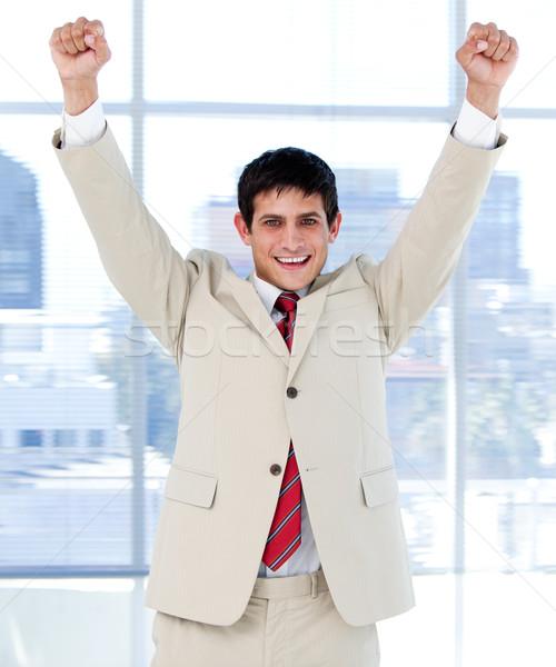 Wesoły biznesmen powietrza uroczystości biuro szczęśliwy Zdjęcia stock © wavebreak_media