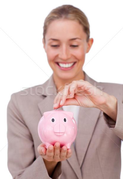 Sorridente empresária dinheiro isolado Foto stock © wavebreak_media