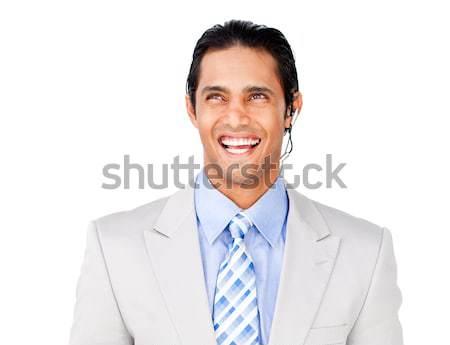 Sorridente jovem atendimento ao cliente agente fone branco Foto stock © wavebreak_media