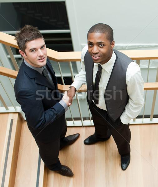 два бизнесменов рукопожатием лестницы улыбаясь камеры Сток-фото © wavebreak_media