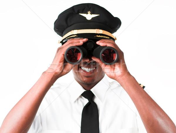 Piloto olhando binóculo negócio mão terno Foto stock © wavebreak_media
