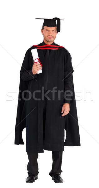 Stock fotó: Diplomás · férfi · tart · diploma · kamera · boldog