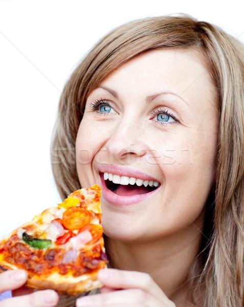 Stok fotoğraf: Sevimli · kadın · pizza · beyaz · gıda