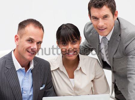 Emberek beszélnek együtt munka iroda nő mosoly Stock fotó © wavebreak_media