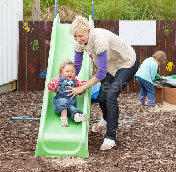 女の子 美しい 母親 遊び場 家族 ストックフォト © wavebreak_media