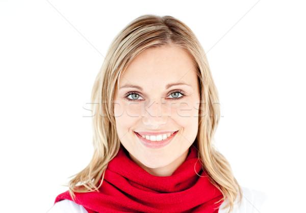 Portrait femme rouge écharpe souriant caméra Photo stock © wavebreak_media