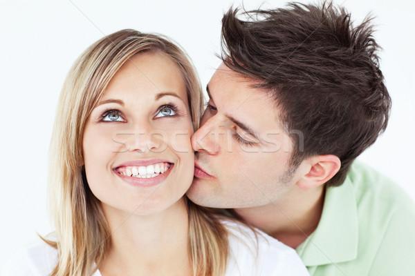 Ostrożny człowiek całując uśmiechnięty sympatia biały Zdjęcia stock © wavebreak_media
