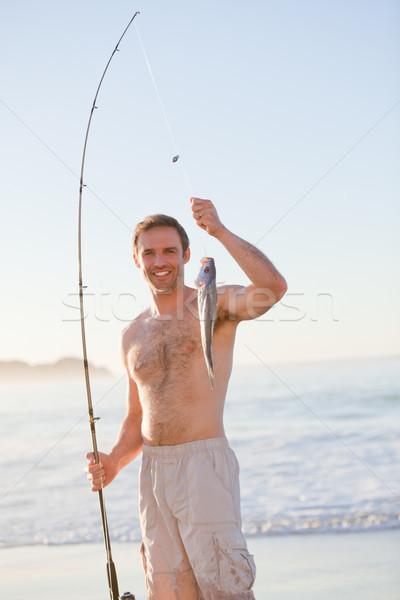 Aktif adam balık tutma doğa deniz okyanus Stok fotoğraf © wavebreak_media