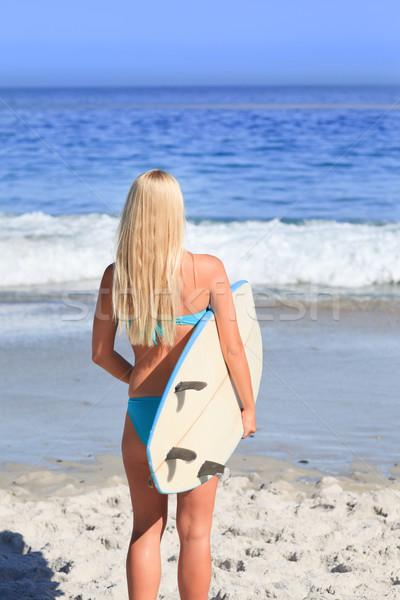 Bella donna bionda tavola da surf bikini Ocean giovani Foto d'archivio © wavebreak_media