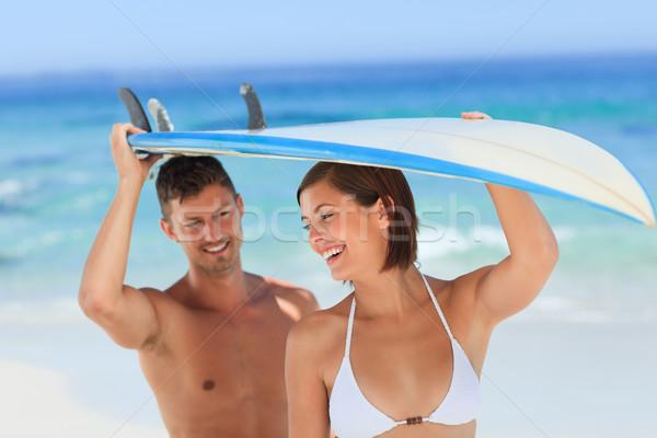 Aşıklar sörf kadın su spor doğa Stok fotoğraf © wavebreak_media