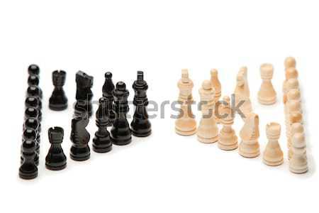 Donkere witte stukken schaken sport achtergrond Stockfoto © wavebreak_media