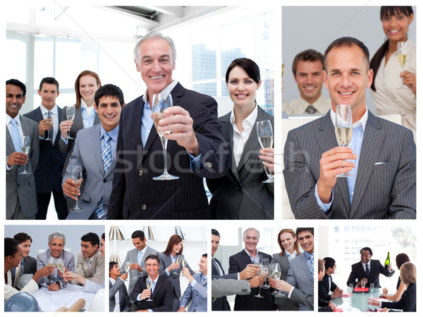 Collage of business people celebrating success with champagne Stock photo © wavebreak_media