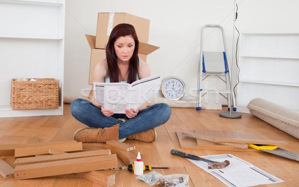 Schönen weiblichen Lesung Handbuch home Lächeln Stock foto © wavebreak_media