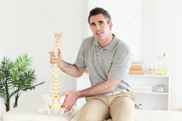 Chiropraticien modèle colonne vertébrale chambre bureau heureux Photo stock © wavebreak_media