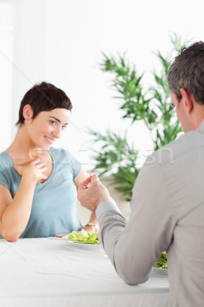 Man proposing to gorgeous girlfriend in a restaurant Stock photo © wavebreak_media